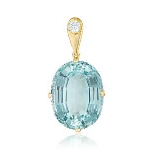 Large Aquamarine and Diamond Pendant