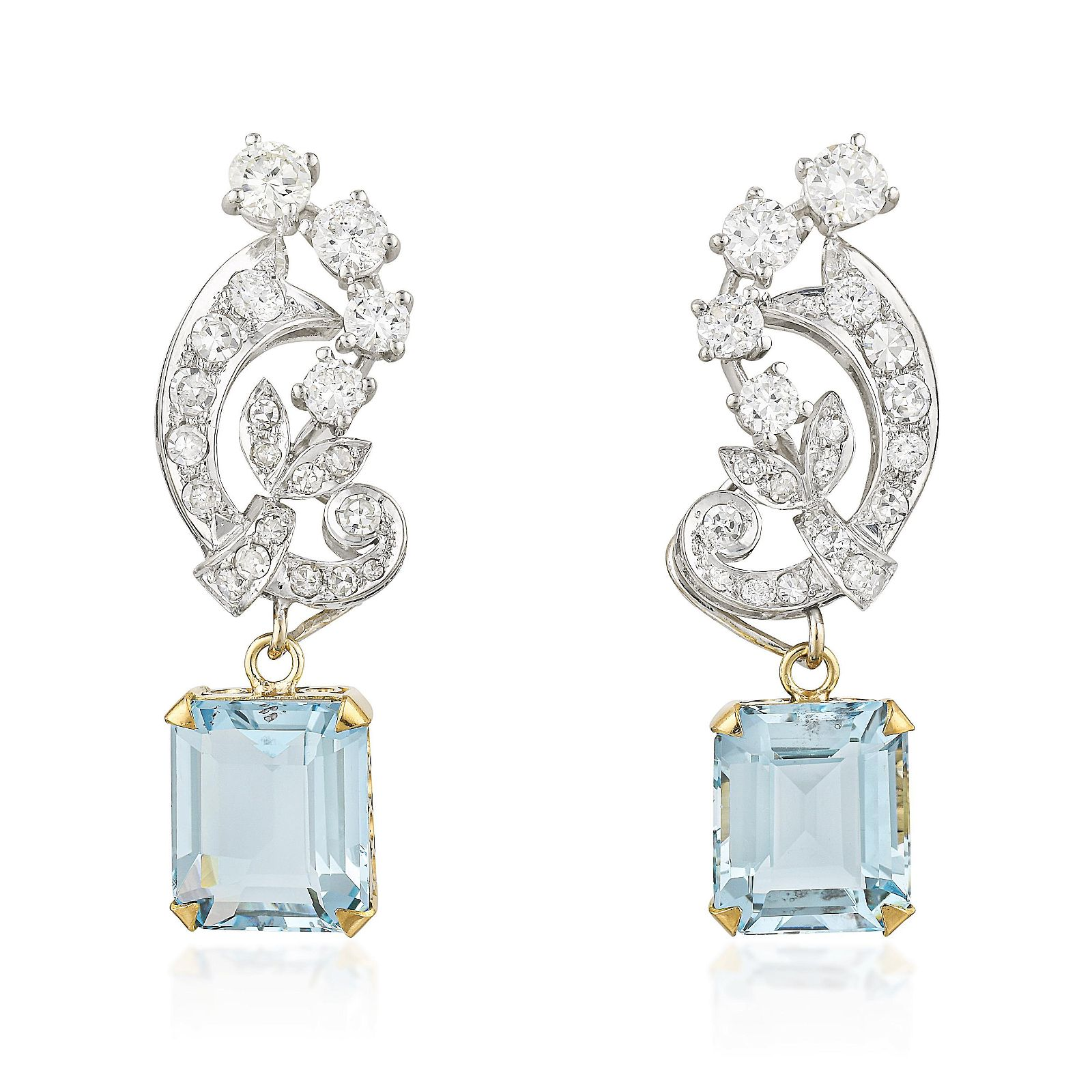 Vintage Aquamarine and Diamond Day/Night Earclips