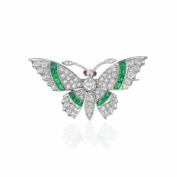 Very Fine Emerald and Diamond Butterfly Pin