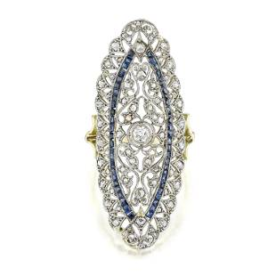 Antique Diamond and Sapphire Oval Ring