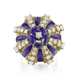 Vintage Enamel and Diamond Ring