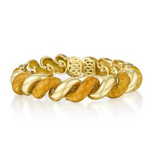 Van Cleef & Arpels Gold and Enamel Twist Bracelet