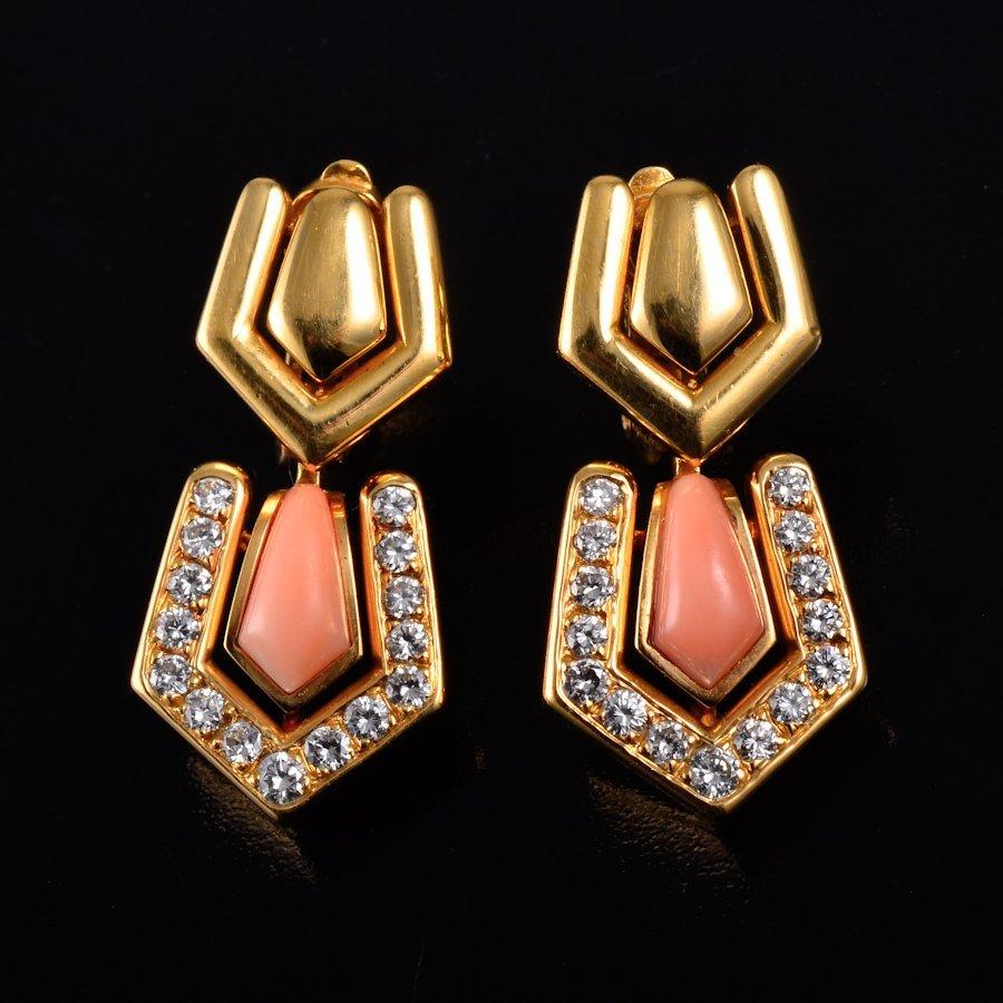 Boucheron coral diamond earrings