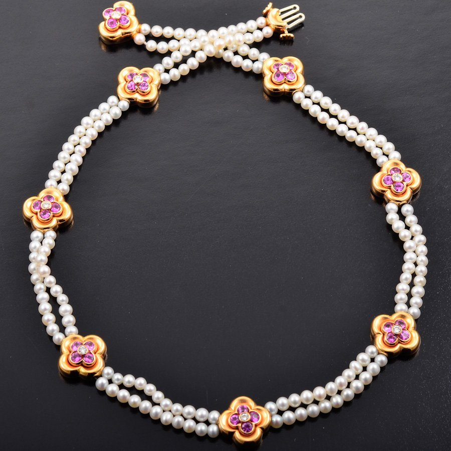 VC&A pink sapphire pearl necklace