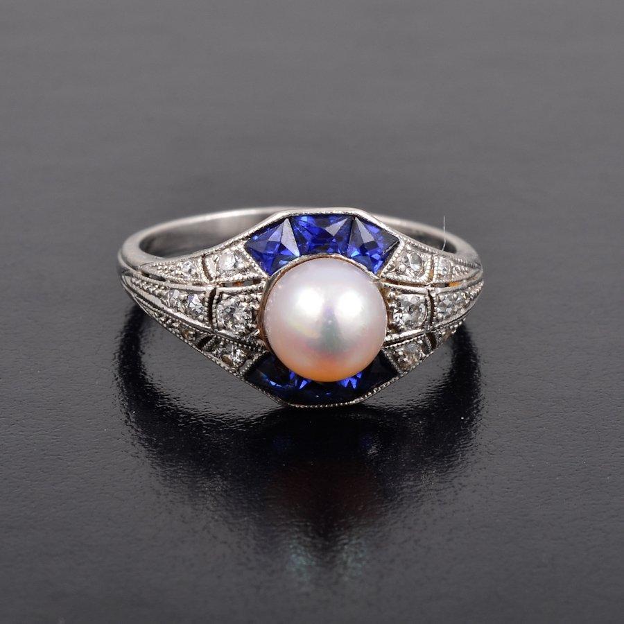 Tiffany natural pearl sapphire diamond ring