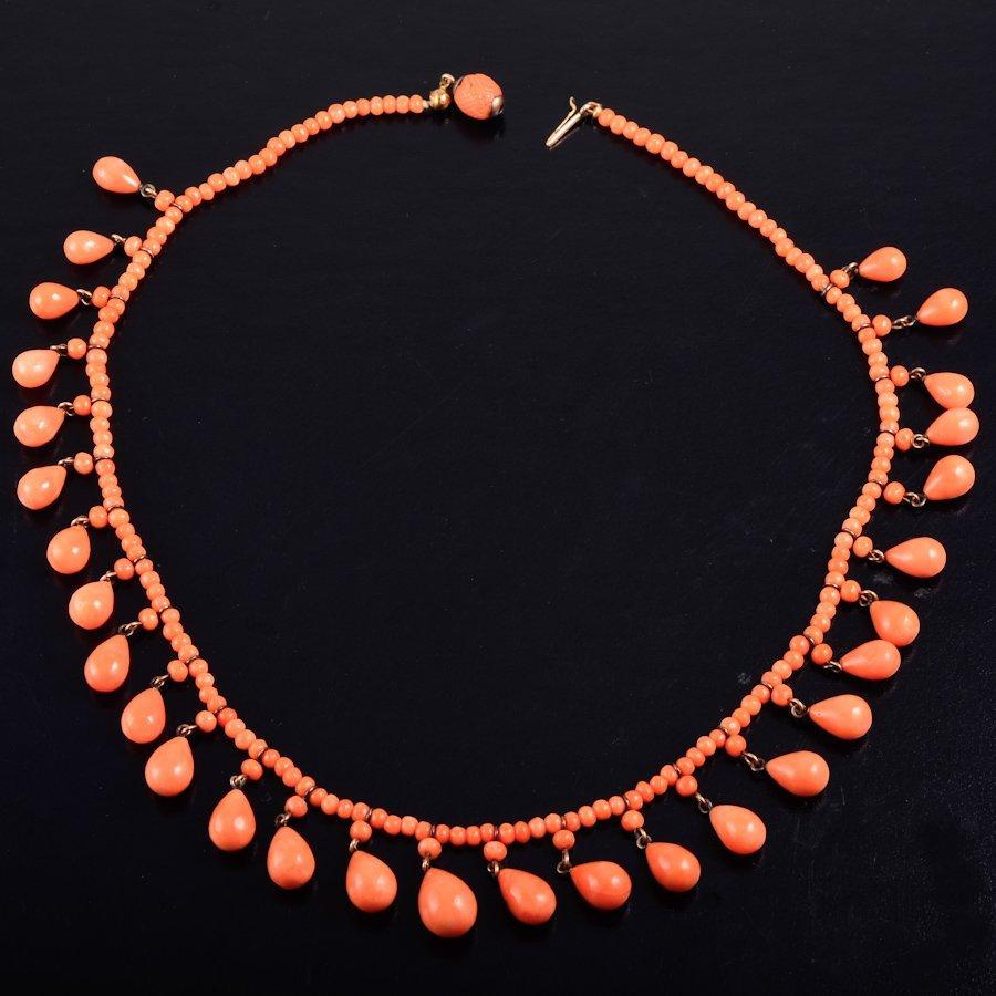 Antiuqe coral drop necklace