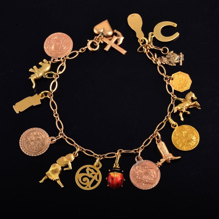 Retro 14K charm bracelet