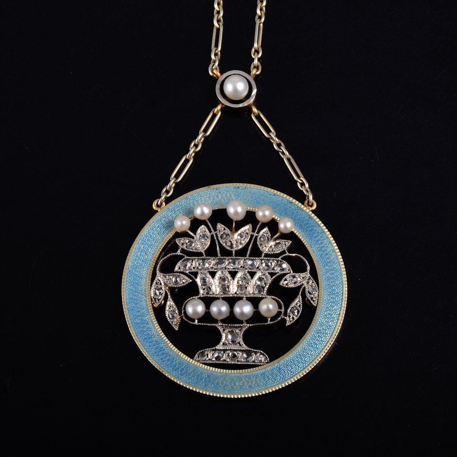 Edwardian diamond enamel necklace