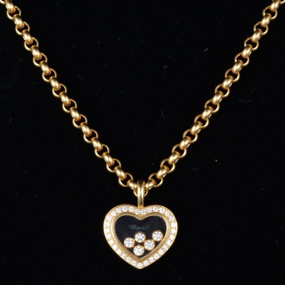Chopard happy diamond pendant chain necklace