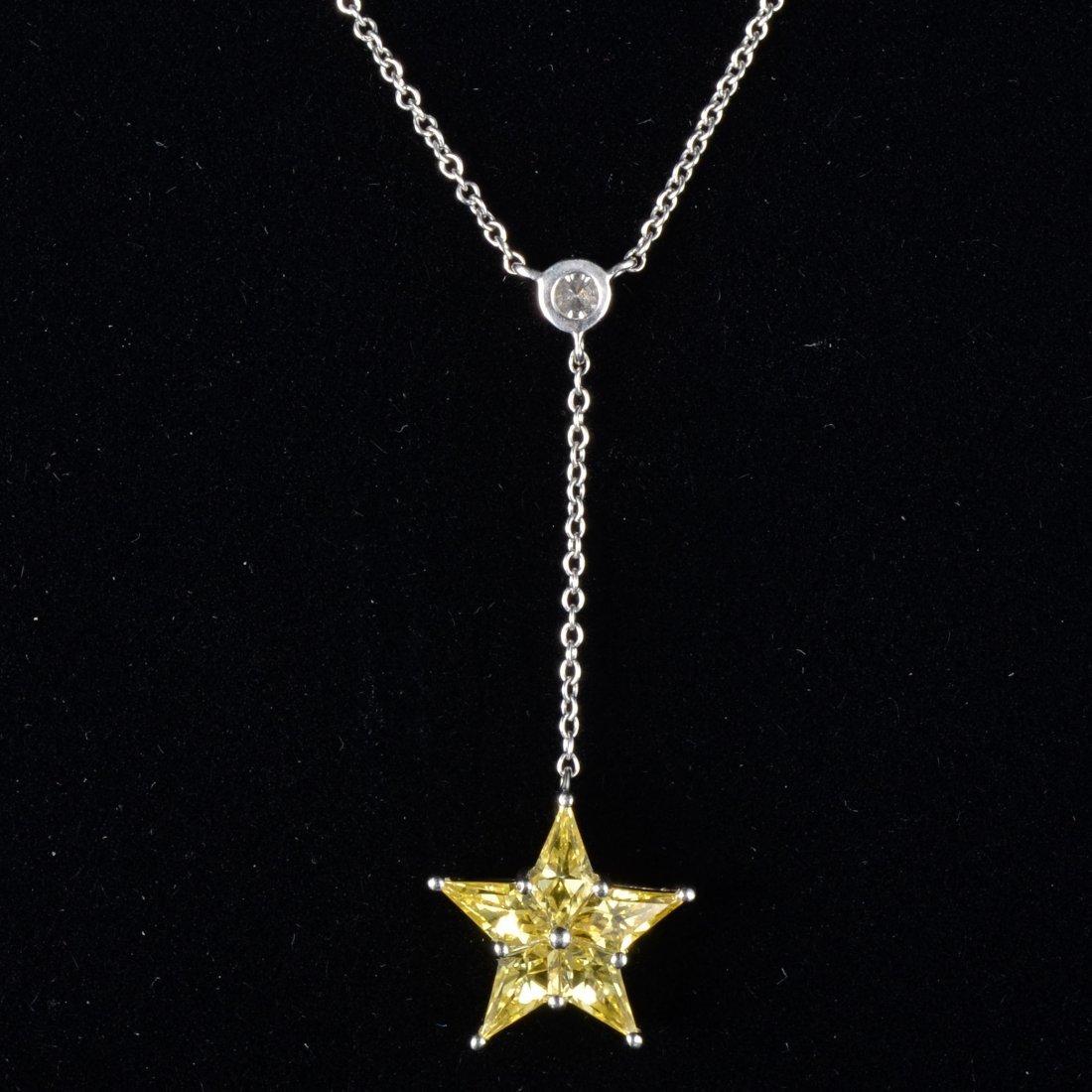 Tiffany yellow sapphire diamond drop chain necklace