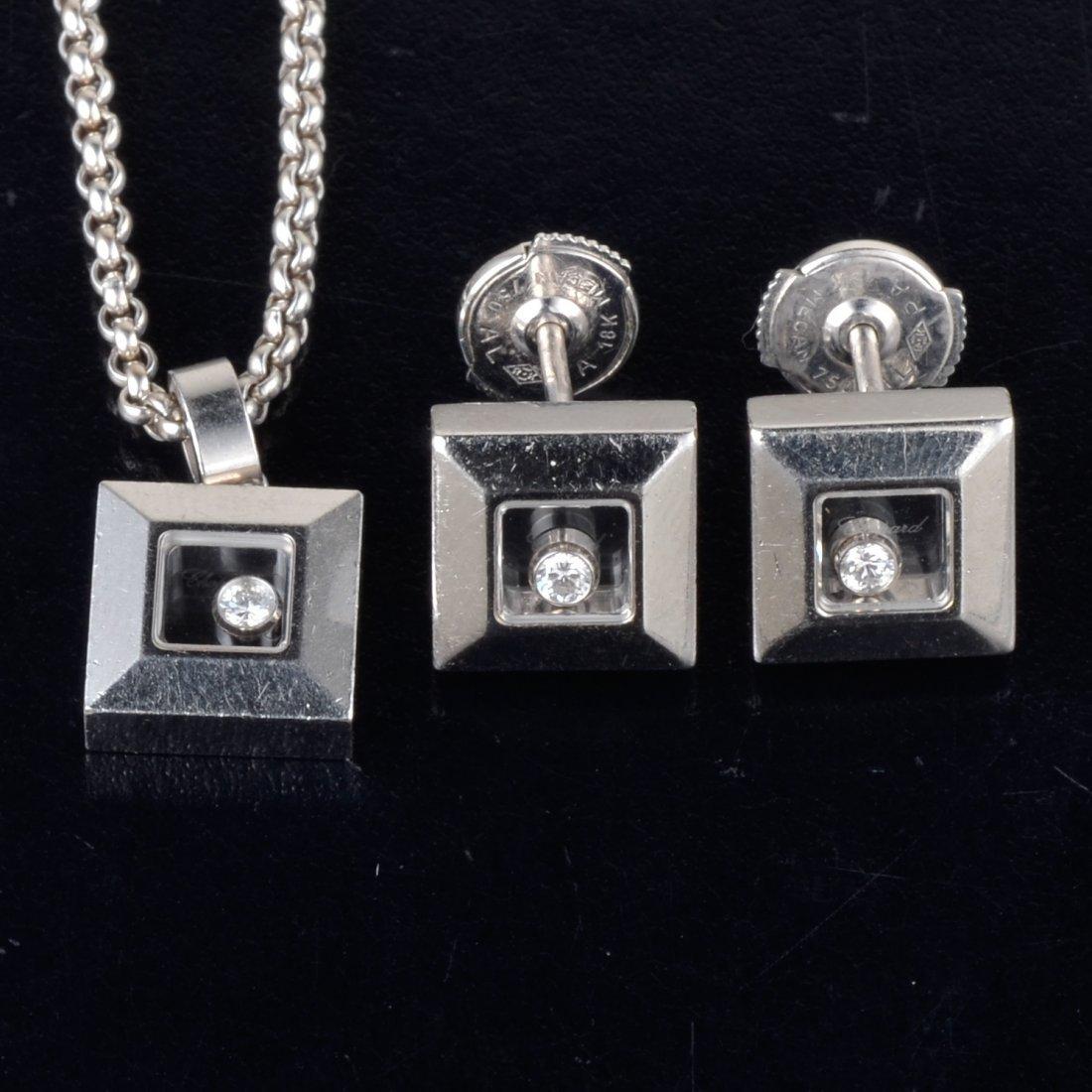 Chopard happy diamond square shape necklace earrings