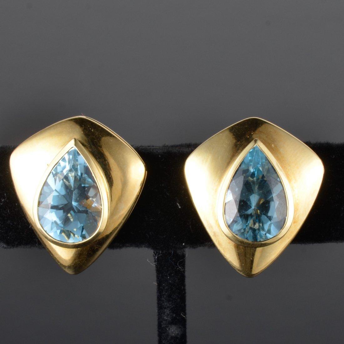 H. Stern blue topaz gold earrings
