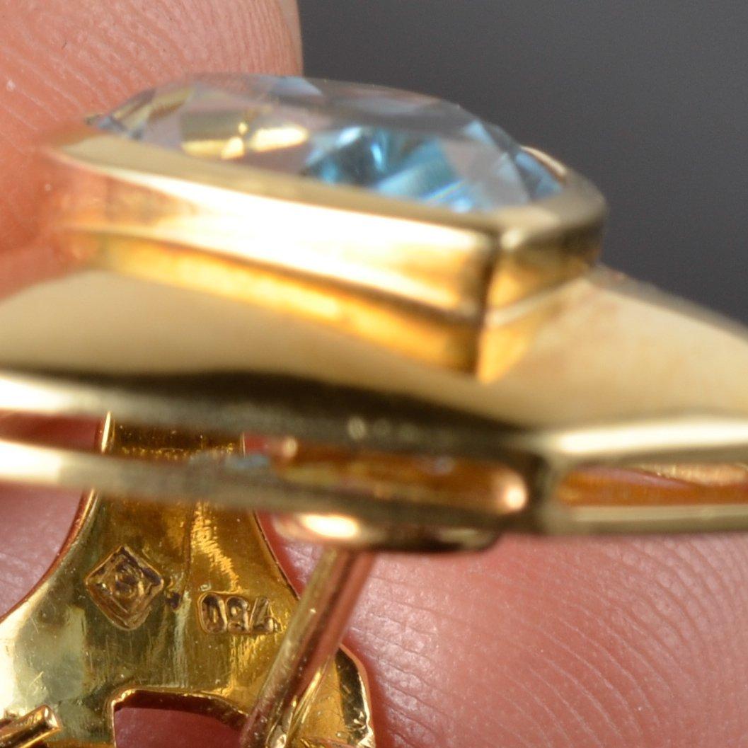 H. Stern blue topaz gold earrings - 3