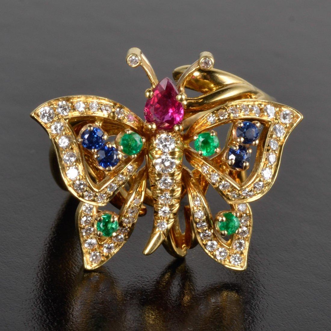 Kurt Wayne diamond gem set butterfly ring