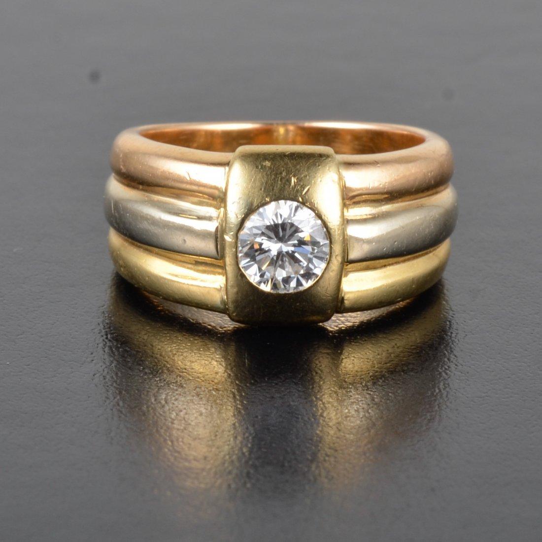 Cartier three color gold diamond ring