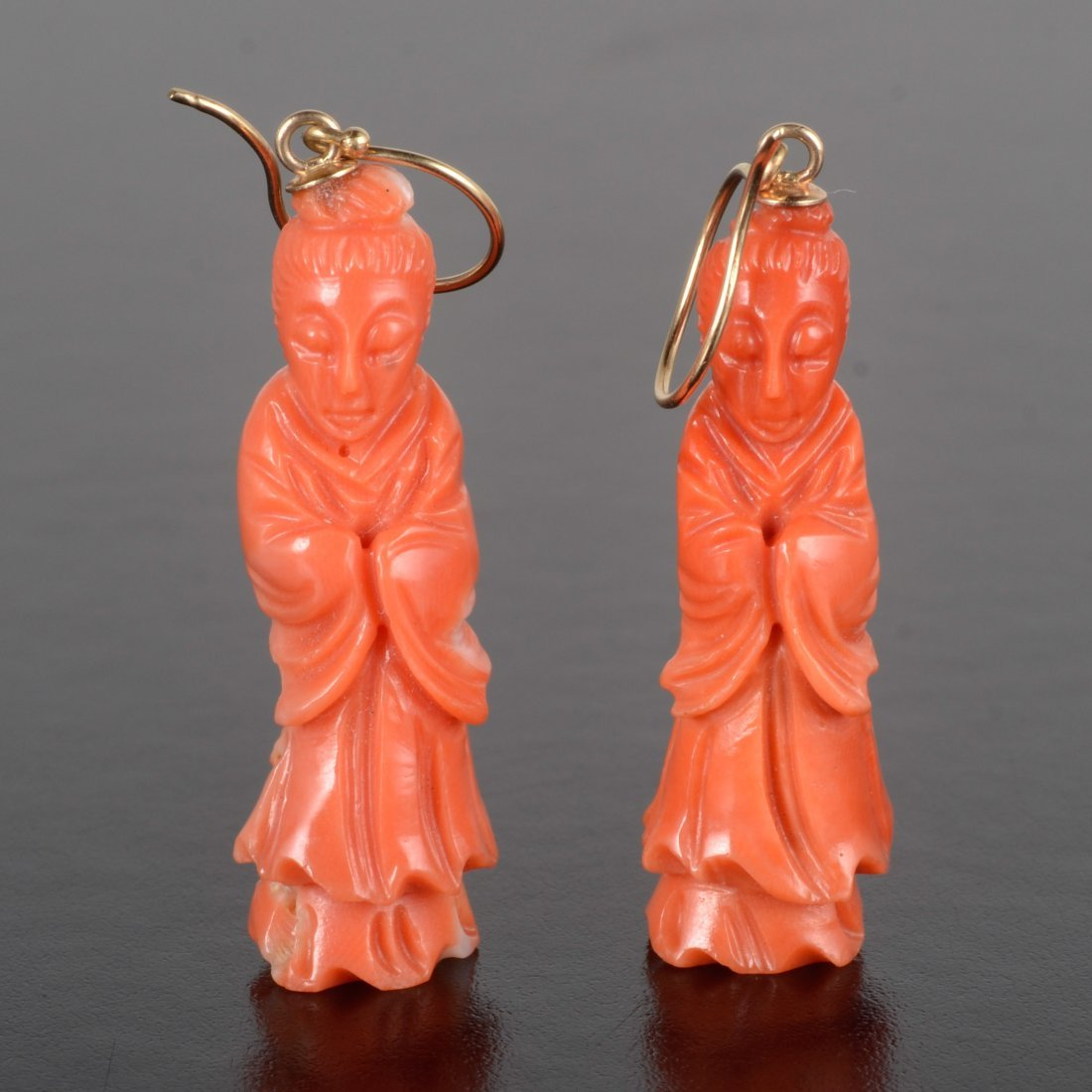 Antique Chinese carved coral Guangyin earrings