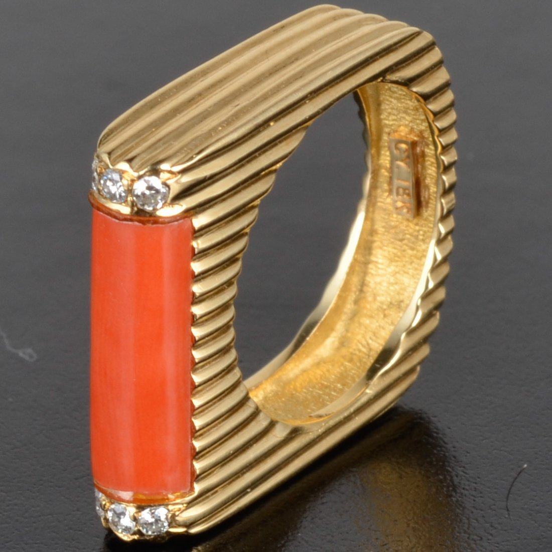 Coral diamond ring