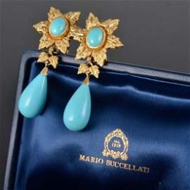 Buccellati gold Truquoise drop earring in box