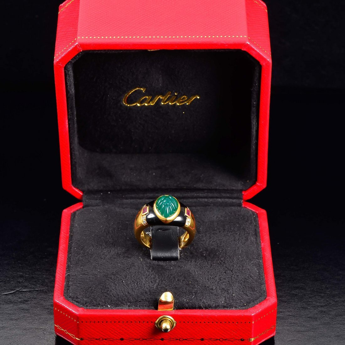 Cartier green onyx ruby onyx ring
