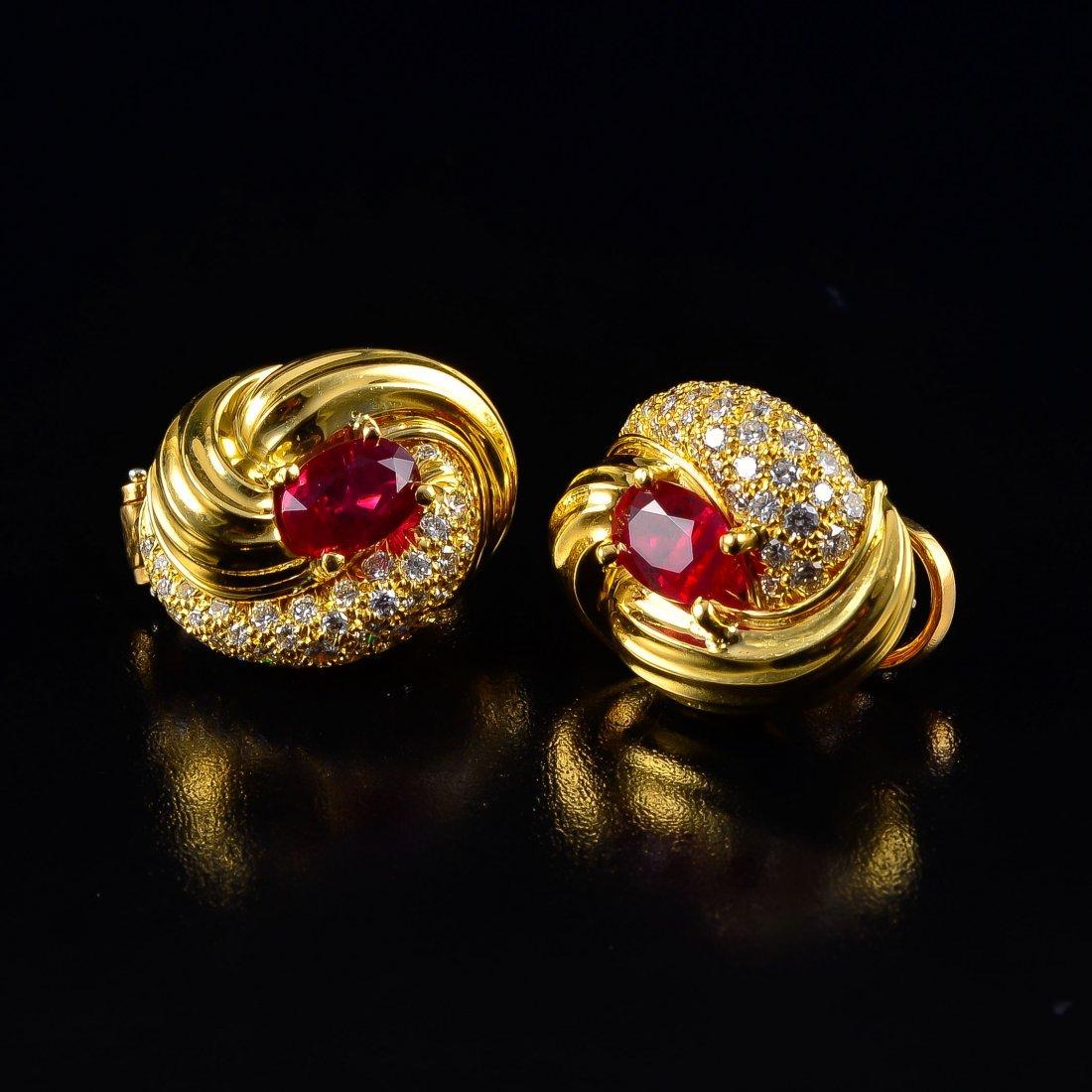 Henry Duney ruby diamond earrings