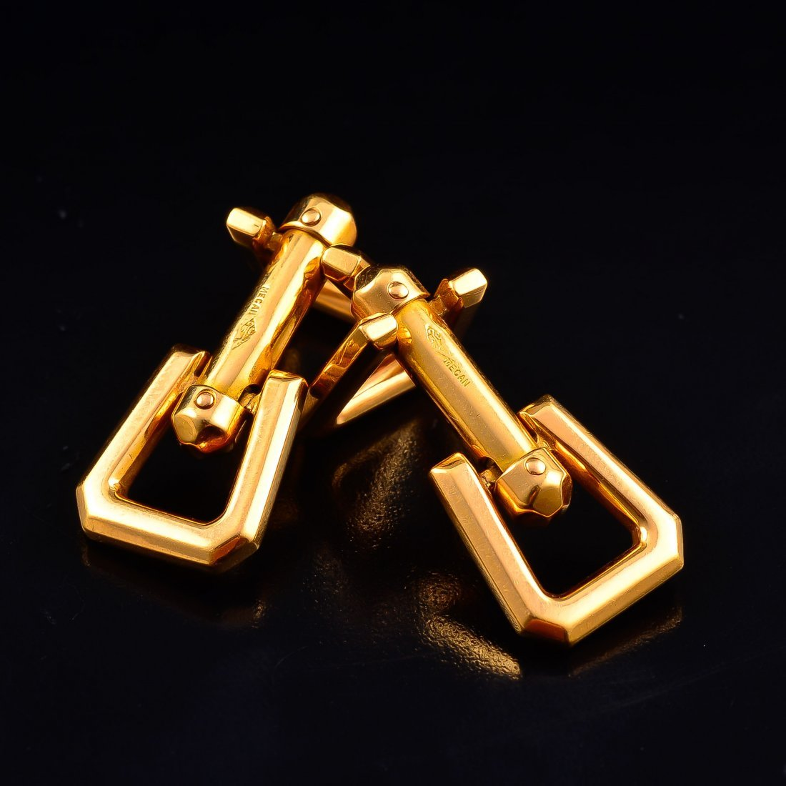 French gold cufflinks by Mecan - 3