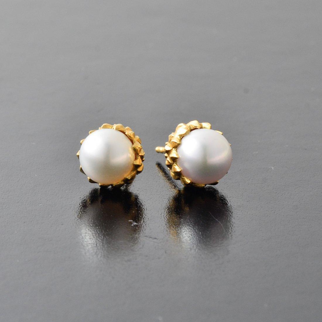 Tiffany Schlumber Pearl Earrings - 2