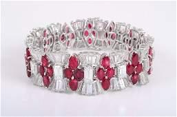 Magnificent Diamond Ruby Bracelet, Circa 1950s-60s