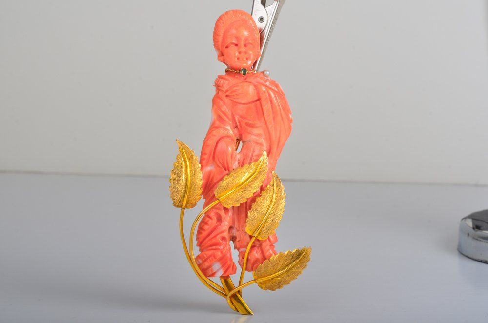 Carved Coral Lady Gold Pin