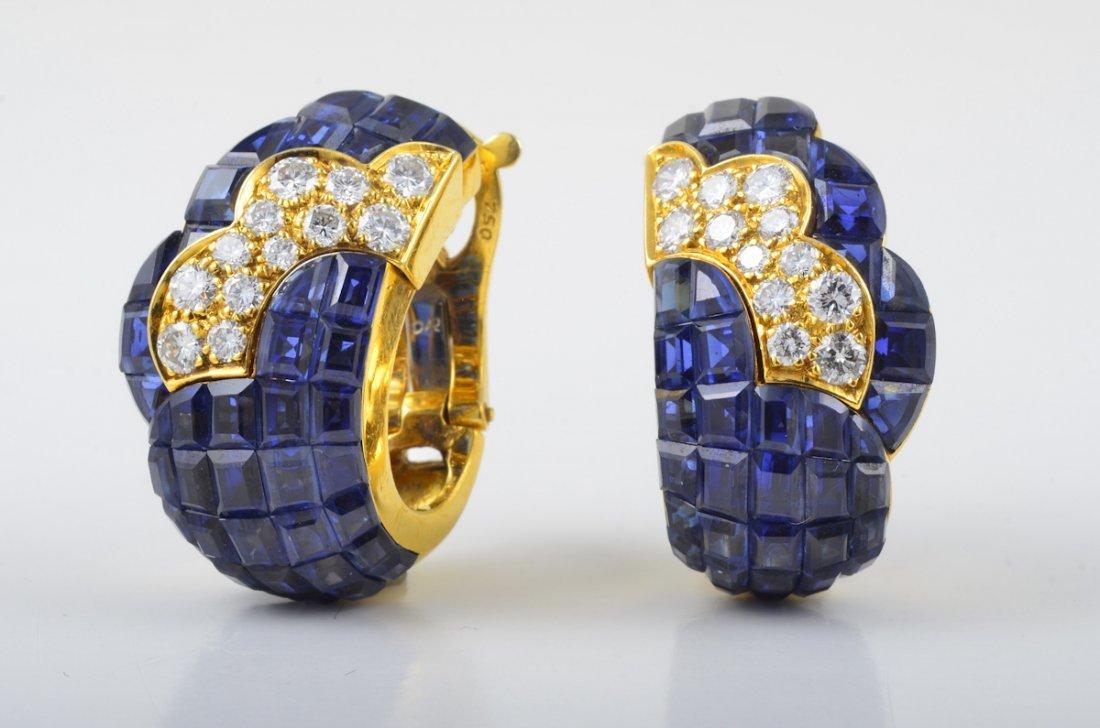 VCA Mystery Set Sapphire Diamond Earrings