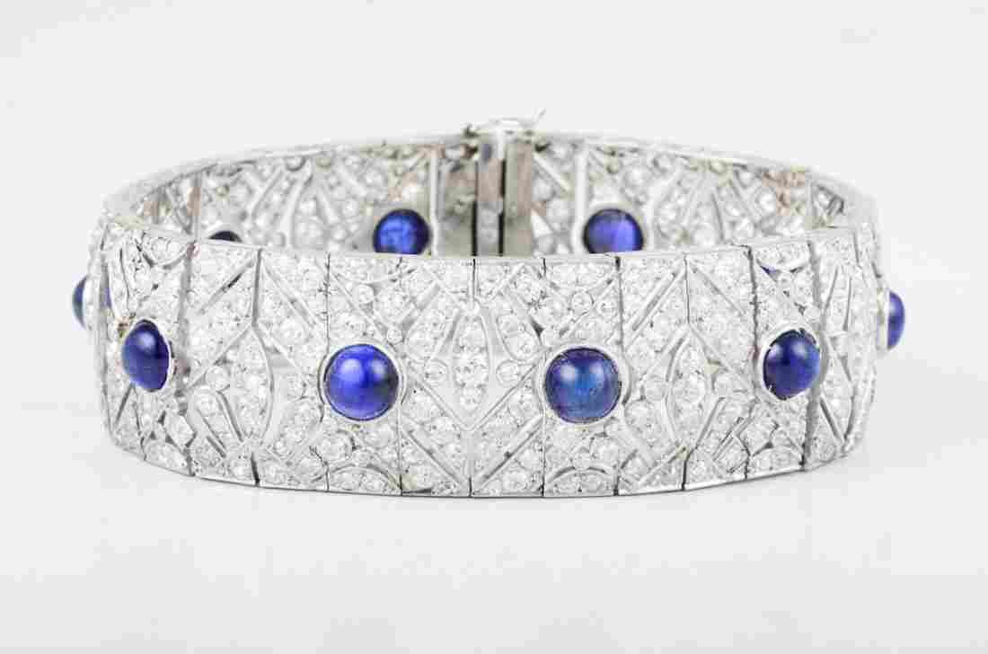 French Art Deco Sapphire Platinum Diamond Bracelet