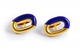 Van Cleef & Arpels Lapis Gold Cufflinks