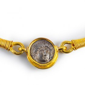 Ancient Roman Coin Gold Necklace