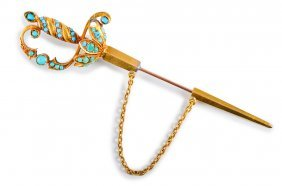 Antique Gold Turquoise Sword Pin