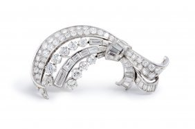 Raymond Yard Art Deco Platinum Diamond Brooch