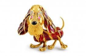 Frascarolo Diamond Enamel Dog Pin