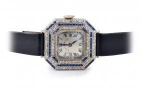 Black Starr & Frost Art Deco Platinum Diamond Sapphire