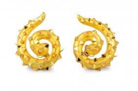 Interesting Large Gold Swirl Earrings