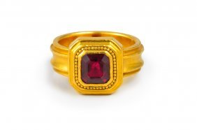 Squared Ruby Gold Ring