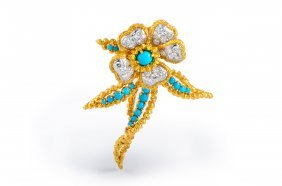 Cartier Diamond And Turquoise Flower Brooch
