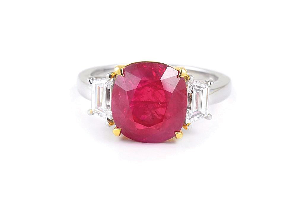 A Platinum Burma Ruby and Diamond Ring