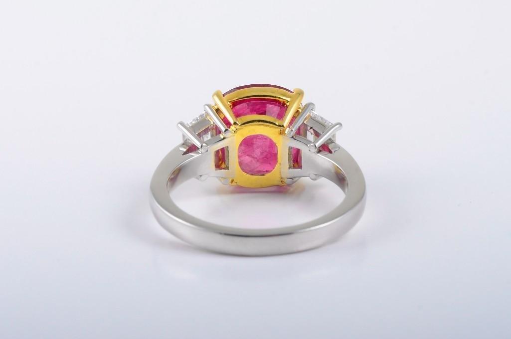 A Platinum Burma Ruby and Diamond Ring - 2