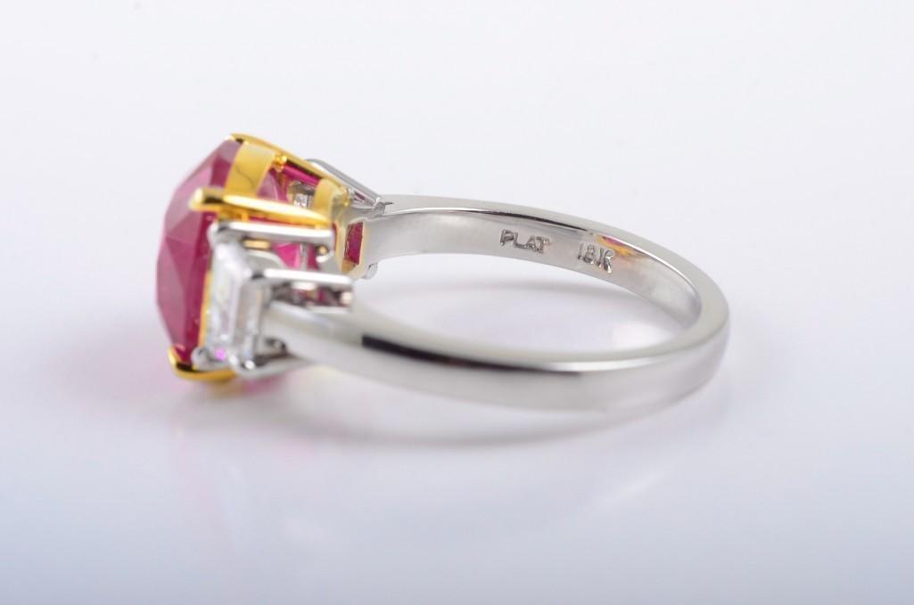 A Platinum Burma Ruby and Diamond Ring - 3