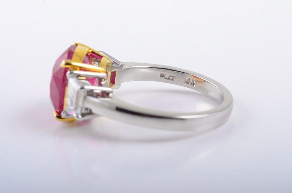 A Platinum Burma Ruby and Diamond Ring - 3