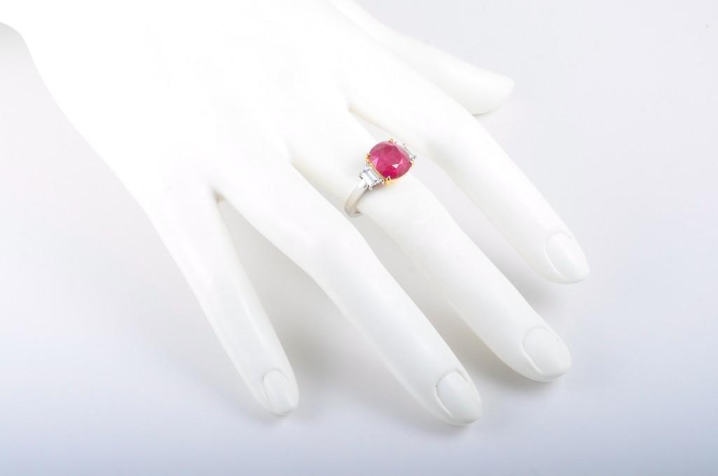 A Platinum Burma Ruby and Diamond Ring - 4