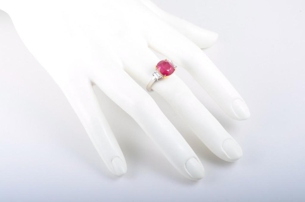 A Platinum Burma Ruby and Diamond Ring - 4