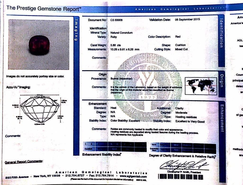 A Platinum Burma Ruby and Diamond Ring - 6