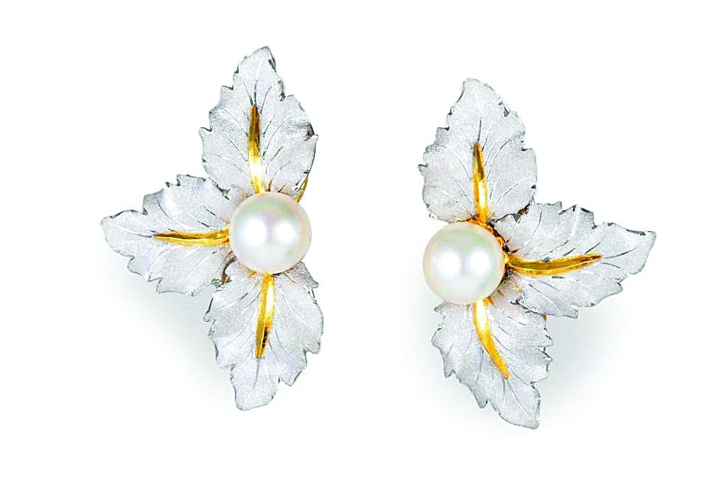 White and Yellow Gold Pearl Earrings, by Buccellati