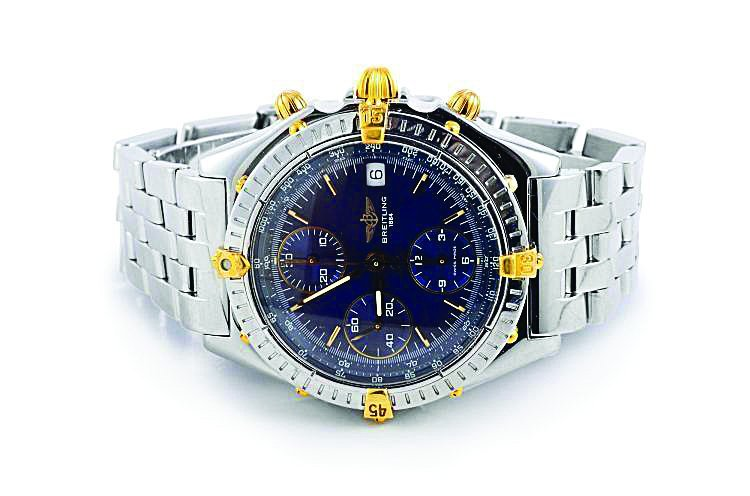 Breitling Stainless Steel and Gold Chronograph Watch