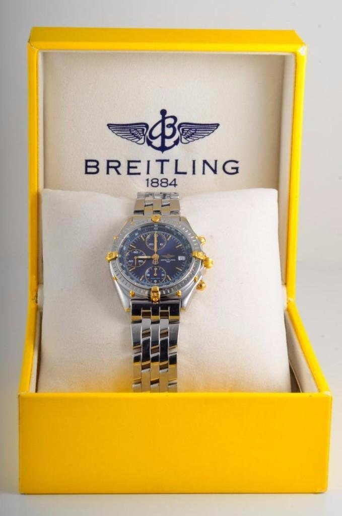 Breitling Stainless Steel and Gold Chronograph Watch - 4