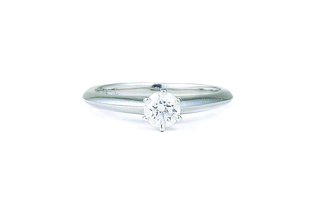A Platinum Diamond Engagement Ring, by Tiffany & Co.